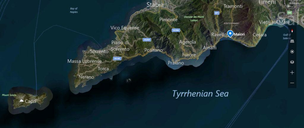 Map of the Amalfi coastline