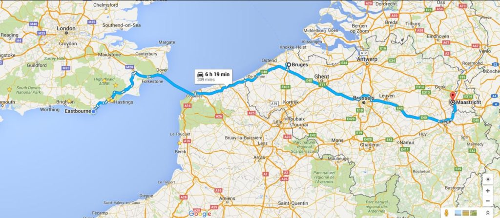 Google Map of Route to Maastricht